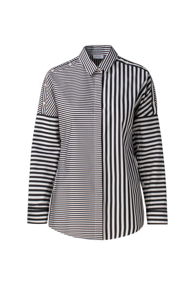 Akris Punto - Black & White Stripe Organic Cotton Poplin Shirt