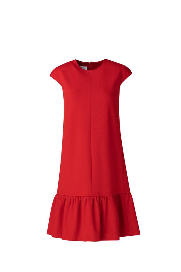 Akris Punto Red Viscose Jersey Cap Sleeve Dress
