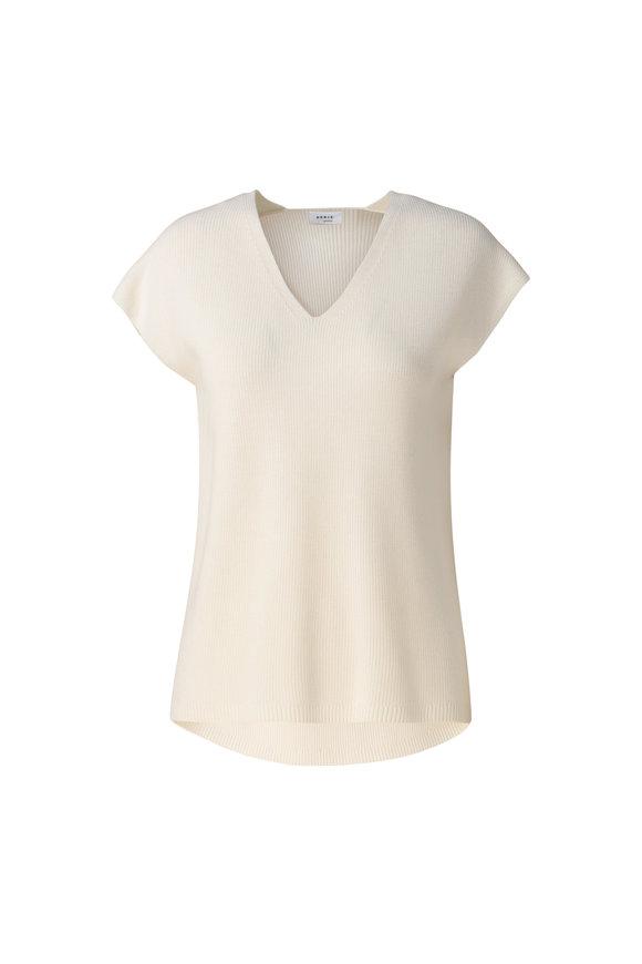 Akris Punto White Wool Cap Sleeve Top