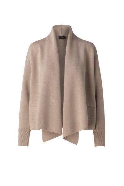Akris - Beige Wool & Silk Shawl Collar Cardigan