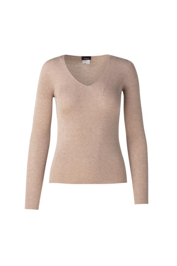 Akris Beige Silk & Cotton Ribbed Seamless Top