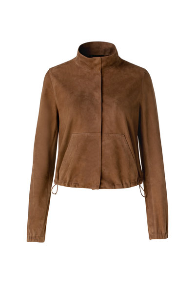 Akris - Cognac Suede Mock Neck Jacket
