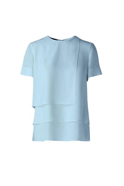 Akris - Light Blue Silk Crêpe Layered Top