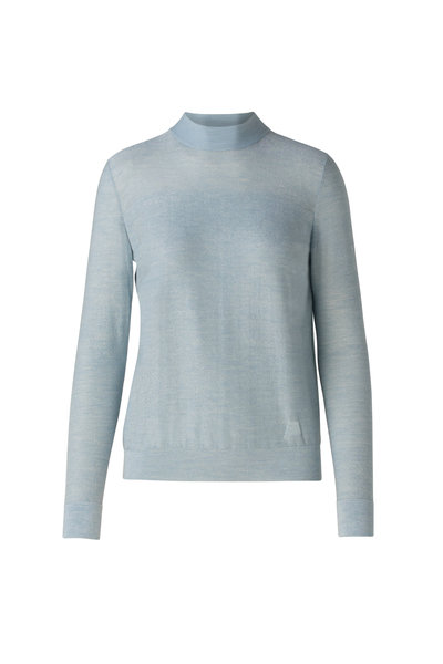 Akris - Light Blue Silk Lurex Mock Neck Knit Sweater