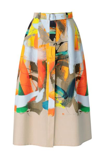 Akris - Multicolor Cotton Brushstroke Print Midi Skirt