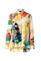 Akris - Multicolor Wool Crêpe Stroke Print Blouse