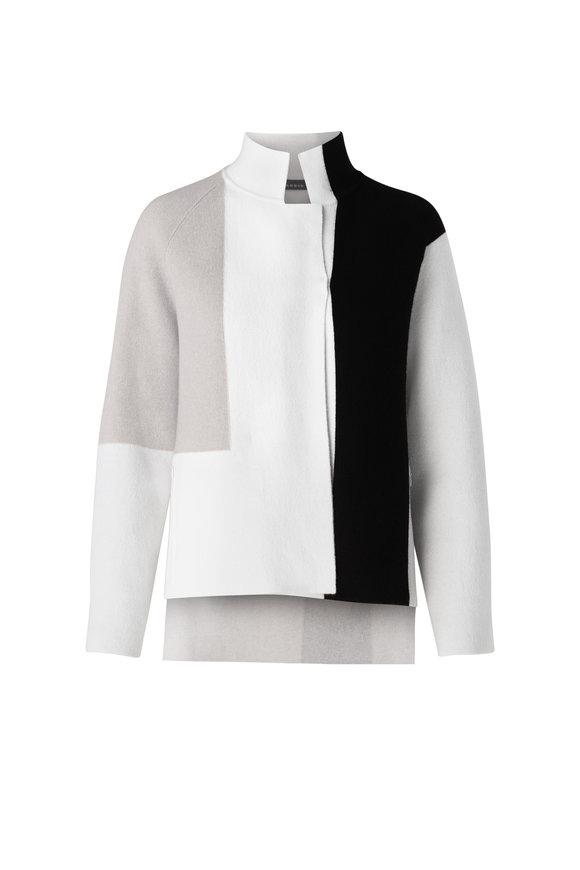 Akris Black & White Cashmere Reversible Cardigan