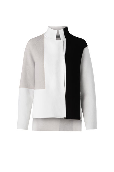 Akris - Black & White Cashmere Reversible Cardigan