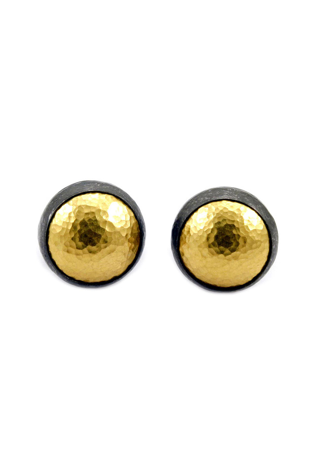 Hammered Gold & Silver Round Button Earrings