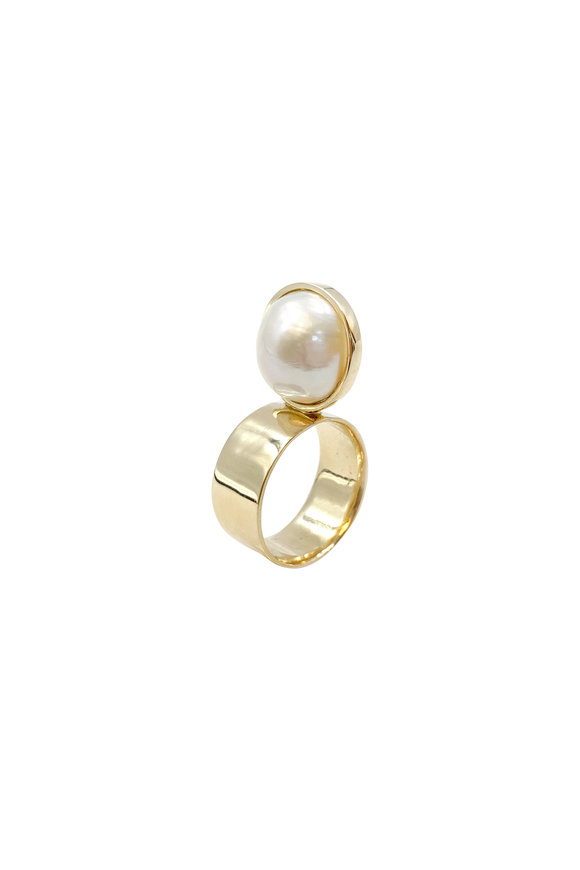 Leslie Paige Yellow Gold Single Pearl Ring