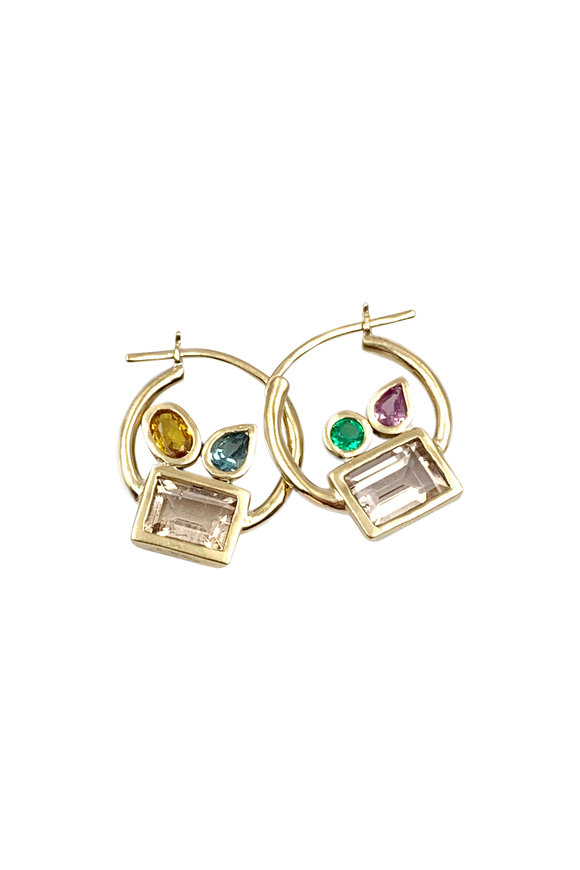 Leslie Paige Yellow Gold Small Cluster Hoops