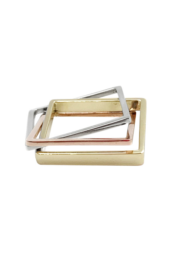 Leslie Paige Mixed Metal Three Band Puzzle Ring