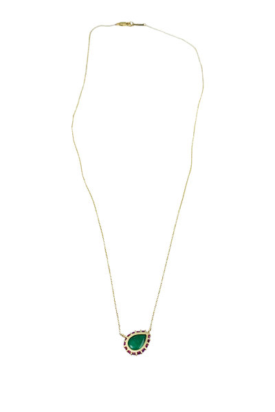 Leslie Paige - Single Bezel Edge Halo Pendant Necklace