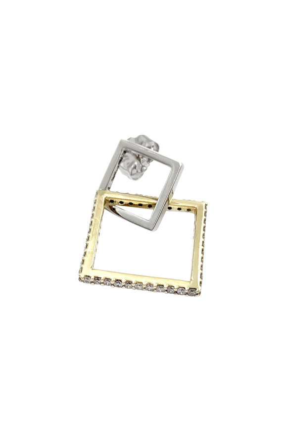 Leslie Paige White & Yellow Gold Single Puzzle Earring