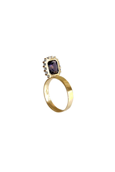 Leslie Paige - Yellow Gold Lapis & Lolite Ring