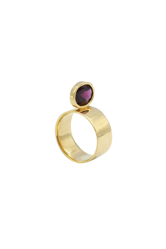 Leslie Paige Yellow Gold Garnet Perch Ring