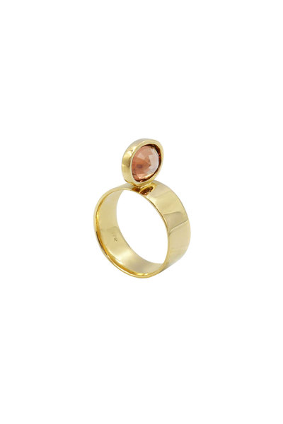 Leslie Paige - Yellow Gold Pink Tourmaline Perch Ring