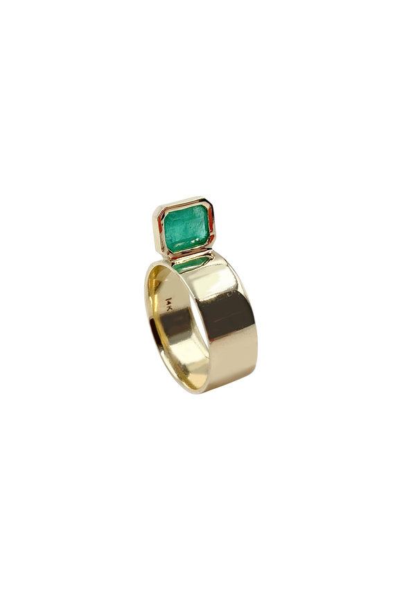 Leslie Paige Yellow Gold Emerald Perch Ring