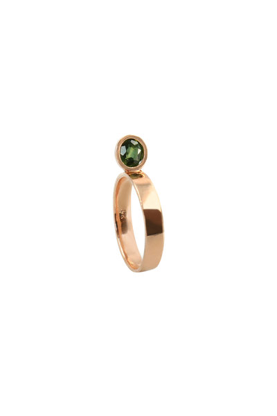 Leslie Paige - Rose Gold Green Sapphire Perch Stack Ring
