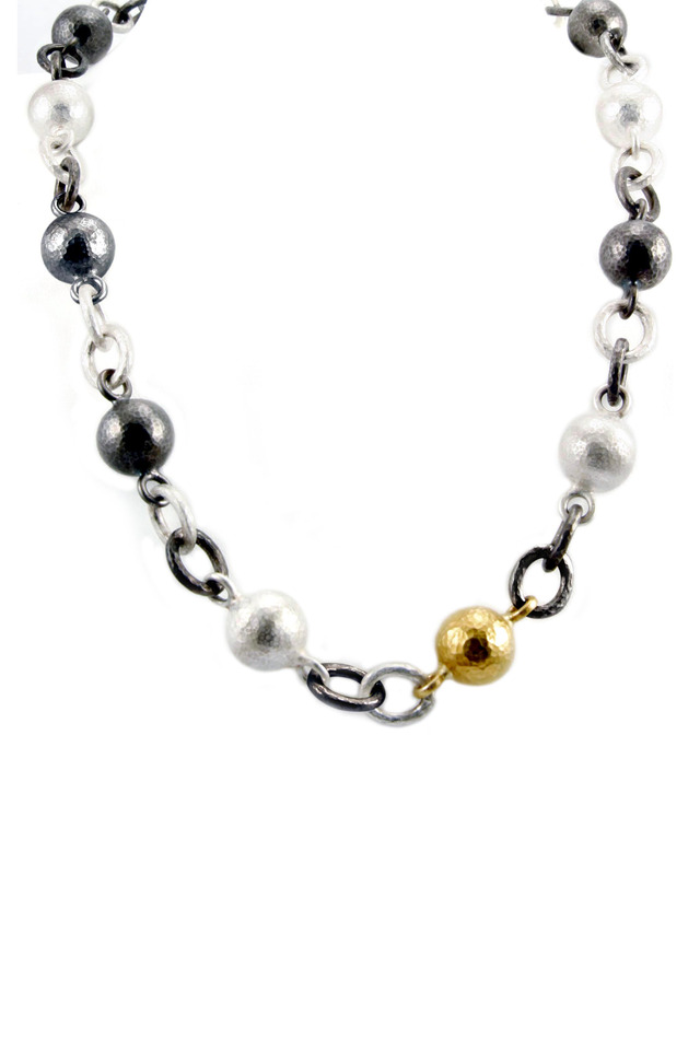 Gold & Silver Ball Hollow Link Chain Necklace