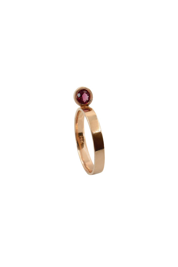 Leslie Paige Rose Gold Pink Sapphire Perch Stack Ring