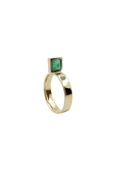 Leslie Paige - Yellow Gold Emerald Square Perch Stack Ring