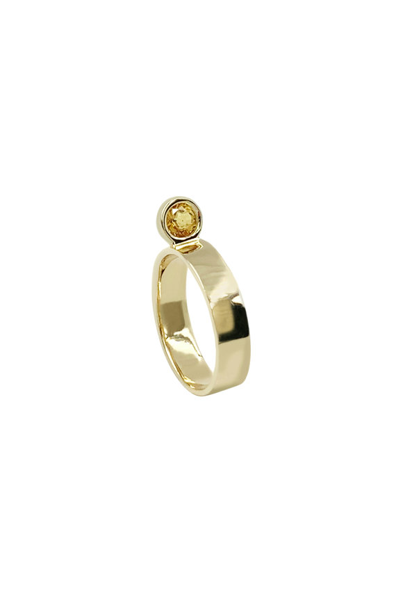 Leslie Paige Yellow Gold Yellow Sapphire Perch Ring
