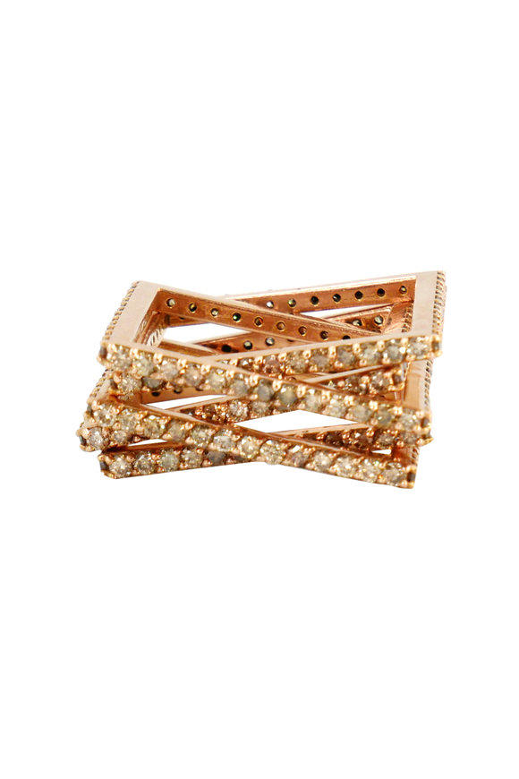 Leslie Paige Rose Gold Champagne Diamond Puzzle Ring