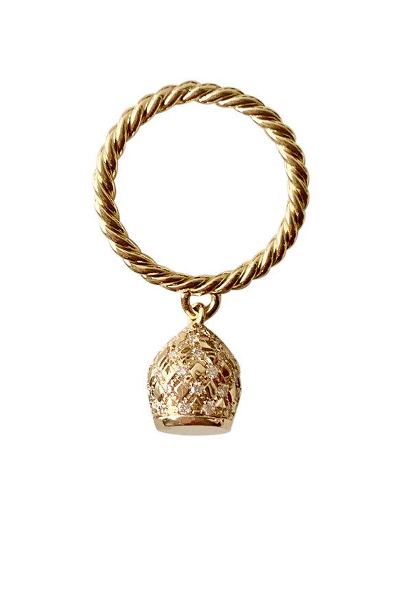 Haute Victoire Allover Diamond Lune Charm Ring