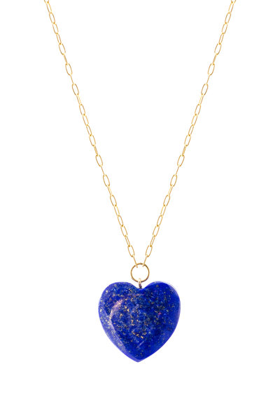Haute Victoire - Yellow Gold Lapis Lazuli Heart Charm Necklace