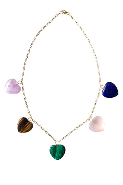 Haute Victoire - 18K Yellow Gold Multi Gem Heart Charm Necklace