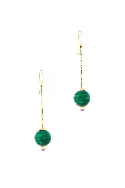 Haute Victoire - 18K Yellow Gold Malachite & Amethyst Earrings