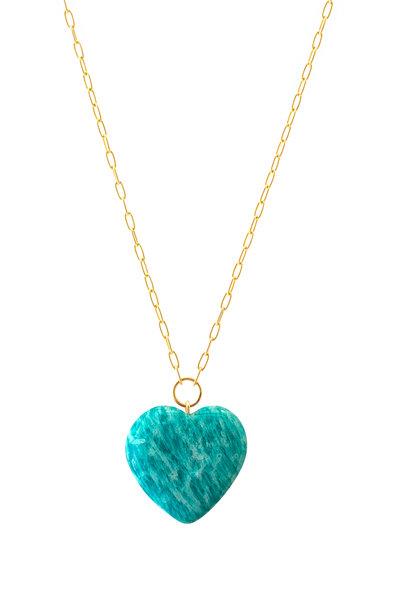 Haute Victoire - 18K Yellow Gold Amazonite Heart Necklace