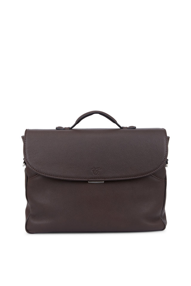 Brown Calfskin Leather Large Briefcase