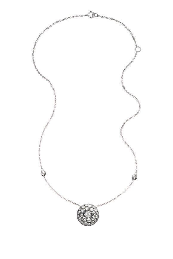 Nam Cho 18K White Gold Rose Cut Diamond Pendant Necklace