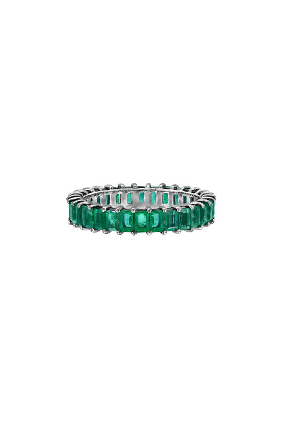 Nam Cho 18K White Gold Emerald Eternity Band