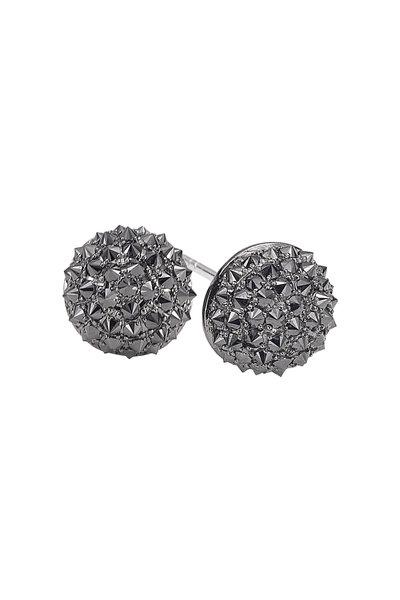 Nam Cho - Gold Black Diamond Reverse Ball Stud Earrings