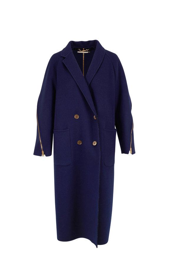 Fendi Blue Wool & Silk Zip Detail Overcoat