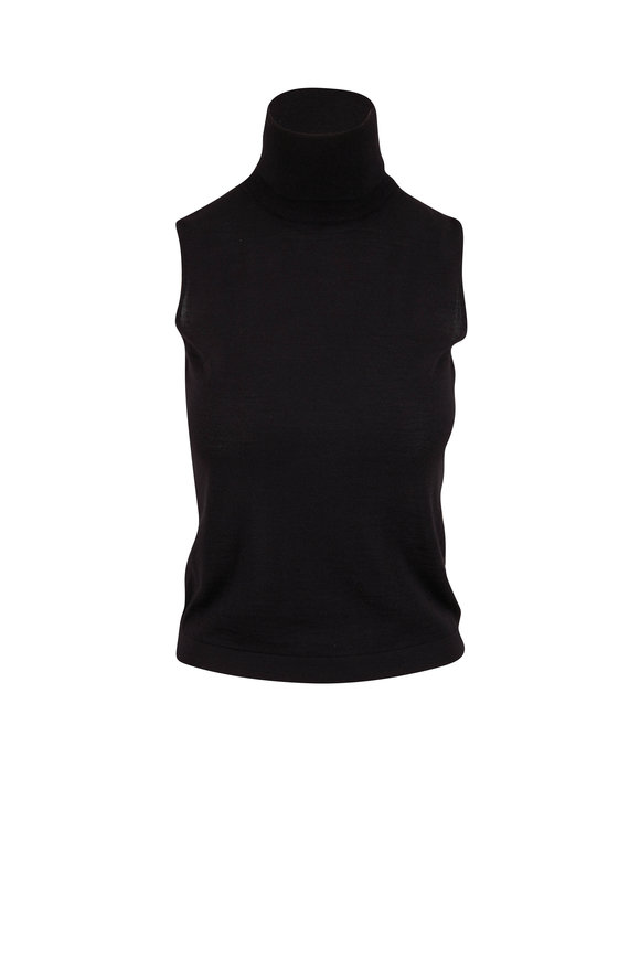 The Row Becca Black Cashmere & Silk Sleeveless Top