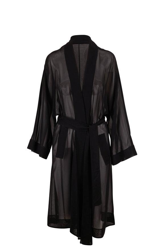 The Row Elton Black Cotton Bell Sleeve Robe