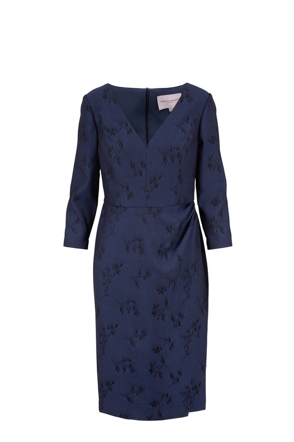 Carolina Herrera Navy Printed V-Neck Long Sleeve Dress