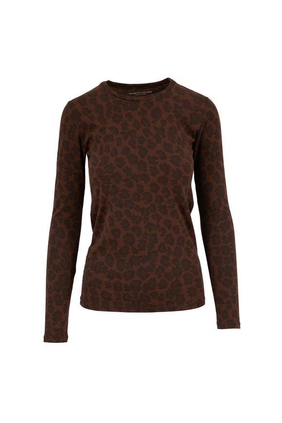 Majestic Coffee Cotton & Cashmere Leopard Print T-Shirt