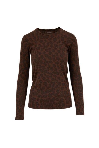 Majestic - Coffee Cotton & Cashmere Leopard Print T-Shirt