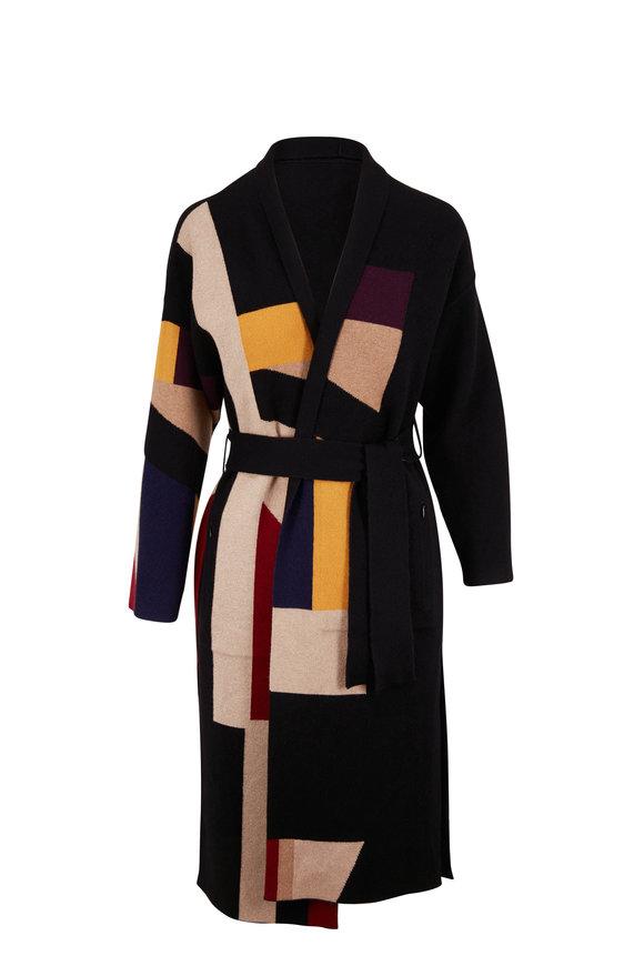 Akris Multicolor Double-Faced Cashmere Reversible Coat