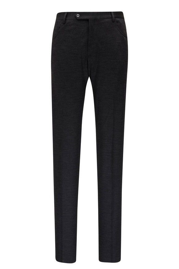 Zanella Curtis Charcoal Grey Plaid Wool Five Pocket Pant