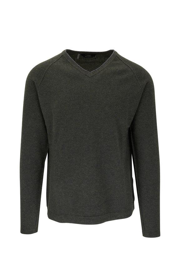 Kinross Forest Green Cashmere V-Neck Sweater