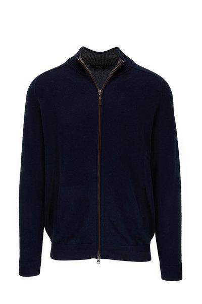 Kinross - Navy Blue Cashmere Full-Zip Sweater