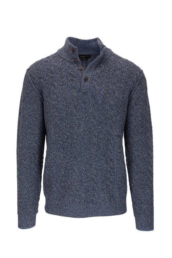 Kinross Navy Blue Quarter-Button Cable Knit Sweater