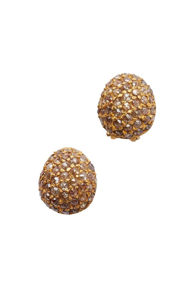 Roxanne Yellow Gold Cognac Diamond Button Earrings
