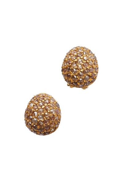 Yossi Harari - Roxanne Yellow Gold Cognac Diamond Button Earrings